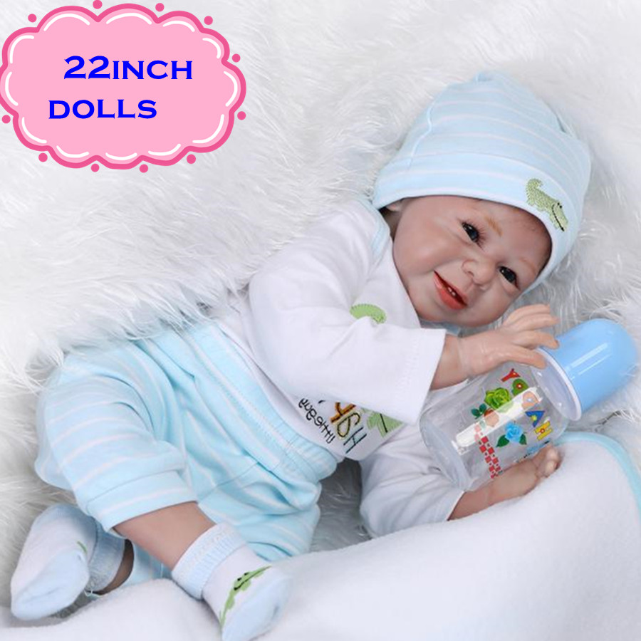 Newest 22inch Lovely And Best Gift NPK Silicone Reborn Baby Dolls With Sweet Smile Real Looking Play Doll Brinquedos For Girl free shipping hot sale real silicon baby dolls 55cm 22inch npk brand lifelike lovely reborn dolls babies toys for children gift