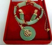 Wholesale 14K GP Jade Pendant Errings Bracelet Set ADS