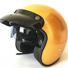 Skull Cap Motorcycle Helmet Vintage Half Face Retro German Style chopper Cruiser GOLD COLOR HELMET