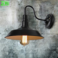 Vintage Iron Painted Indoor Wall Lamp Industry/Club/Dining Hall/Foyer/Shop Lighting E27 Indoor Lamps With Black Lamp Shade