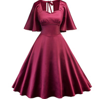 Marilyn Monroe Style Vintage Dresses 1950s 60s Jurken High Waist Wine Red Short Summer Retro Rockabilly Swing Cape Sleeve Dress