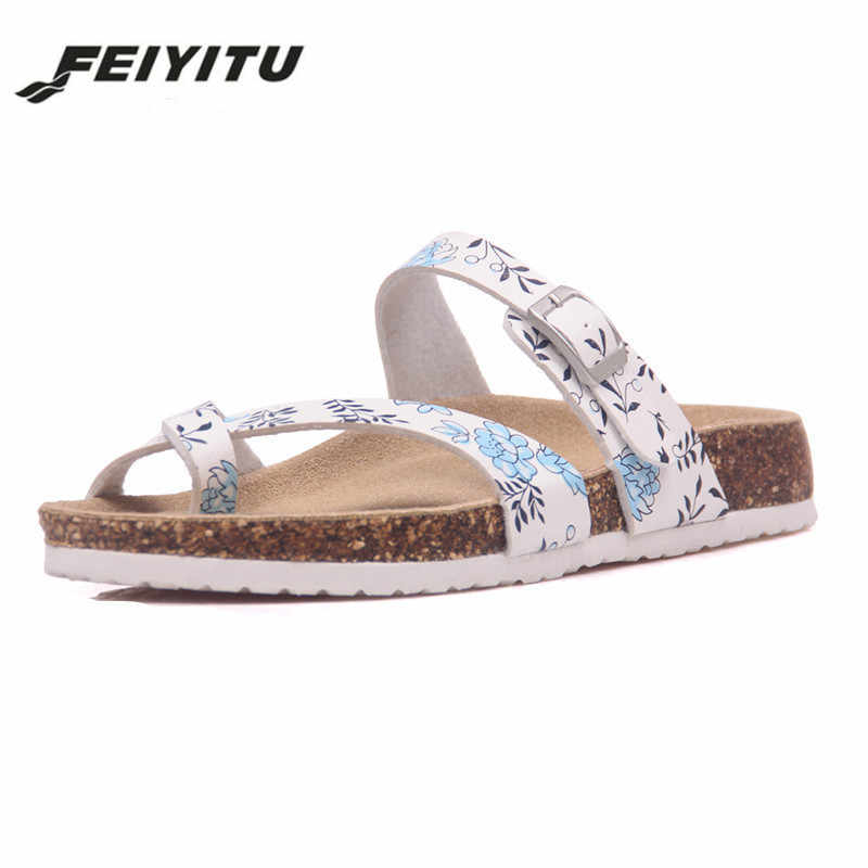 FeiYiTu  Fashion New Summer Cork Sandals Casual Women Mixed Color Flip Flops Valentine Shoes Zapatos Mujer Sandalias Size 35-45