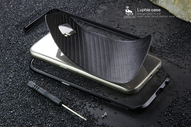 Com etiqueta de couro de volta para samsung galaxy s7 g9300 g930 caso casos de luxo requintado corte de metal de alumínio bumper quadro