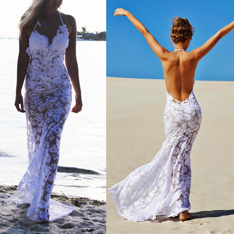 Y White Lace Trumpet Mermaid Summer Wedding Dresses 2017 Open Back Beach Bridal Gown See Through Ts0204 In From Weddings
