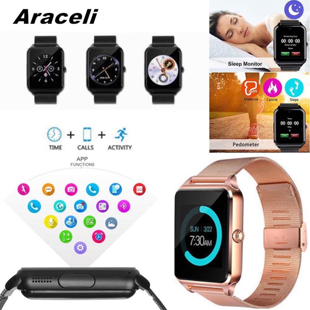 Bracelet en métal Bluetooth montre intelligente poignet réveil passomètre sommeil Tracker Smartwatch Support carte téléphone montre intelligente