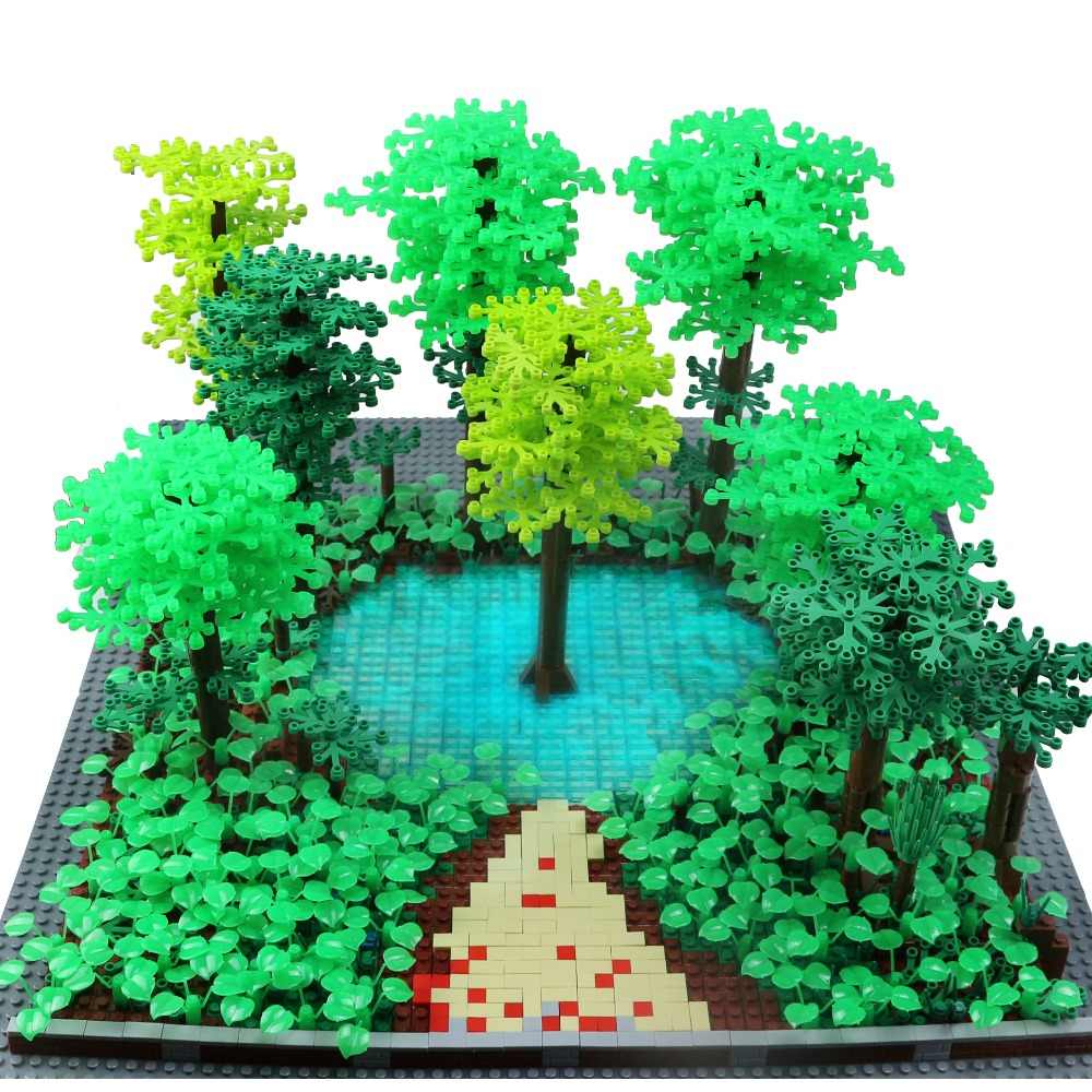 City Military Accessory Building Blocks MOC Weapon DIY Green Bush Flower Grass Tree Plants Garden Toys Legoe City Blocks For Kid
