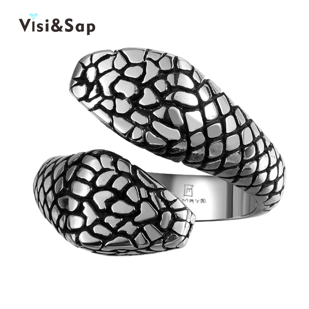 Visisap Fashion antique Snake Rings for men gold Color cool punk ring size 8-11 wedding  ...