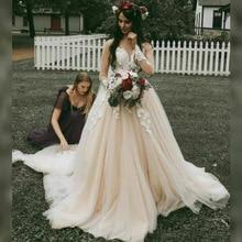 Champagne Sweetheart boda Vestido Apliques de encaje manga larga tul princesa vestidos de novia tamaño personalizado