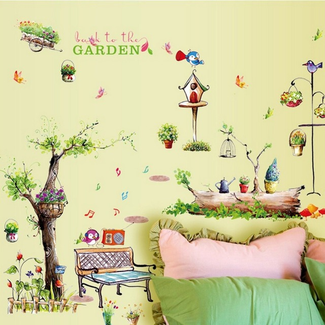 English Letters Trees Butterflies Bird Wall Decal Home Sticker Paper ...