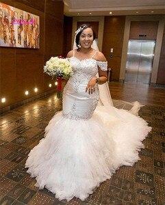 Image 2 - Strapless Beaded Spaghetti Starps Mermaid Wedding Dresses for Bride
