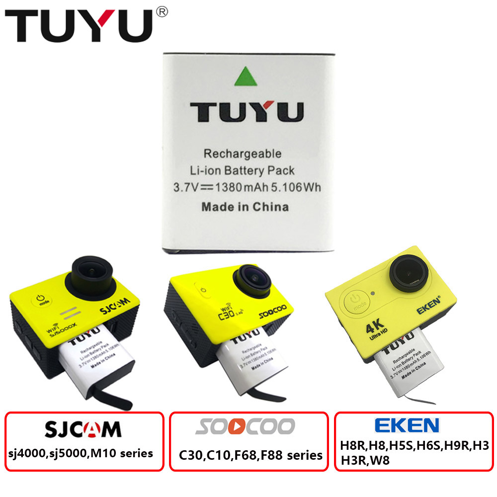 TUYU 1380mAh Rechargeable Action Camera Battery With USB Dual Battery Charger For Eken H9 H8R H6S H5S SJCAM SJ4000 5000 Camera