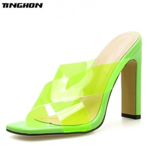 TINGHON  Concise PU Ladies Slipper Women Sexy Transparent Square Toe Slippers Heels Red Green Clear Shoes Size35-40