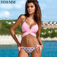 DD MM Sexy Bandage Bikini Push Up Swimwear For Women Criss Cross Top Swimsuit Halter Bikini