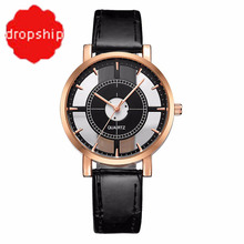 Fashion Women Watch Luxury Unique Stylish Double Hollow Lady Watches Elegant Casual Quartz Wristwatch Gift Girls Clock Black