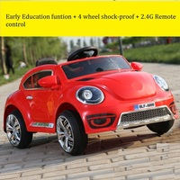 The New Beetle Children Electric Car Double Open Door Drive Four Wheel Swing Luminous Baby Stroller Car With Bluetooth Remote