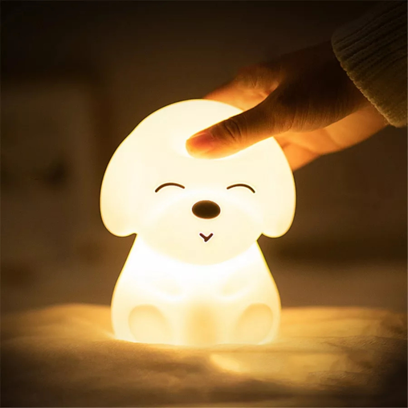 Creative Puppy Silicone LED Night Light Seven Color Touch Light USB Charging Toy Vent Bedroom Baby Feeding Cute Night Light