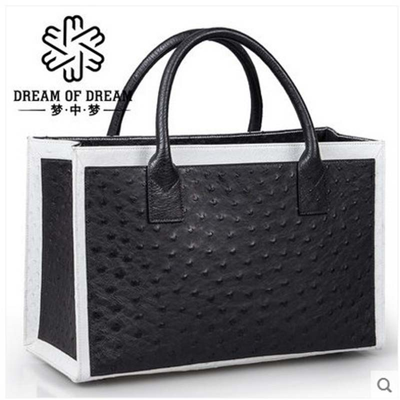 mengzhongmeng South Africa ostrich leather women handbag fashion lady business bags briefcases female cross section 5 color купить