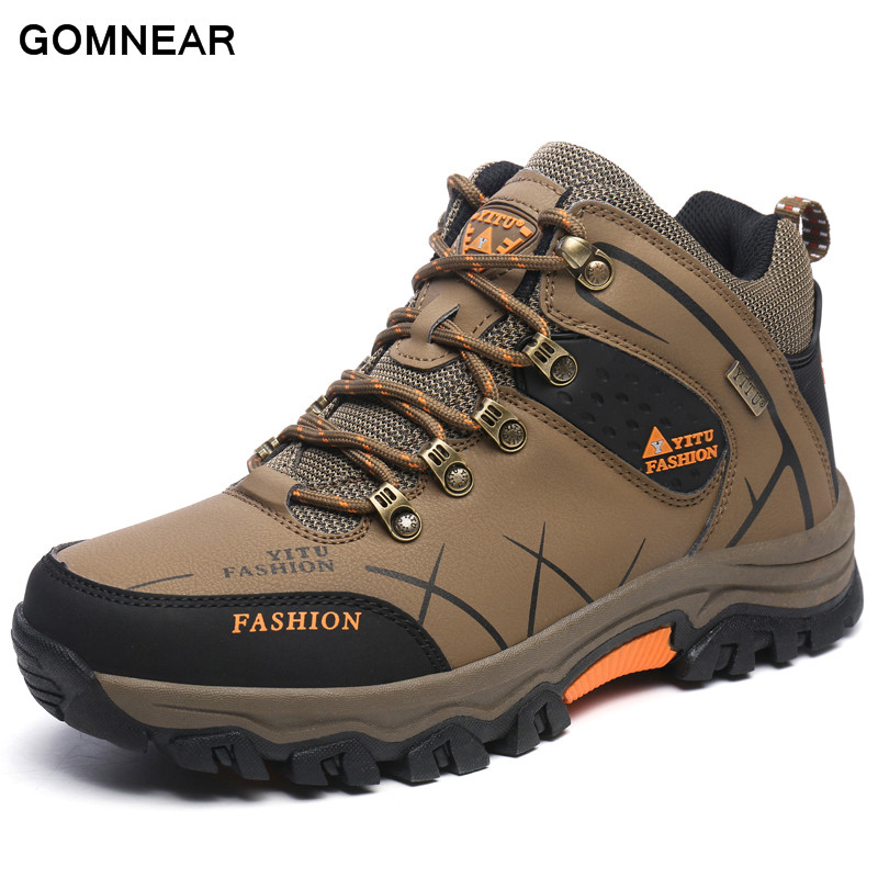 ФОТО GOMNEAR New Trend Autumn And Big Size Winter HIking shoes Breathable Outdoor Waterproof Hunting antiskid tourism Trend sneakers