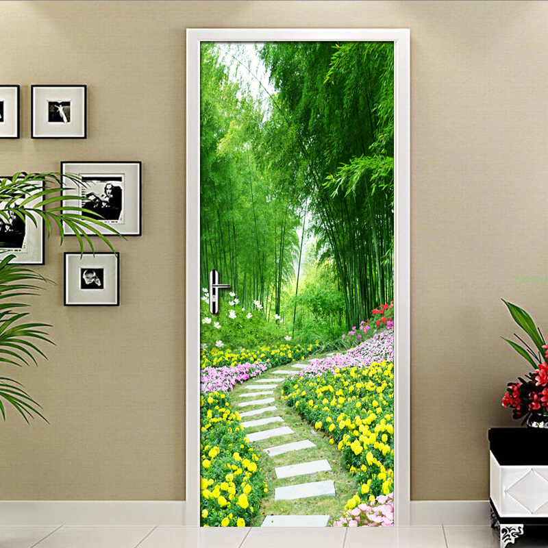 3D Door Stickers Mural Wallpaper Forest Path Flowers Mural Bedroom Living Room Sticker Wall Home Decoration Poster Photo Tapety