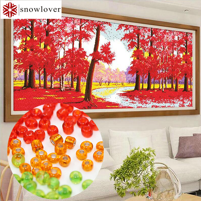 Snowlover,beads,Needlework,DIY,bead Cross Stitch ,Embroidery Stitch,Precise Printed Painting,plant Pattern Cross,red Leaves816