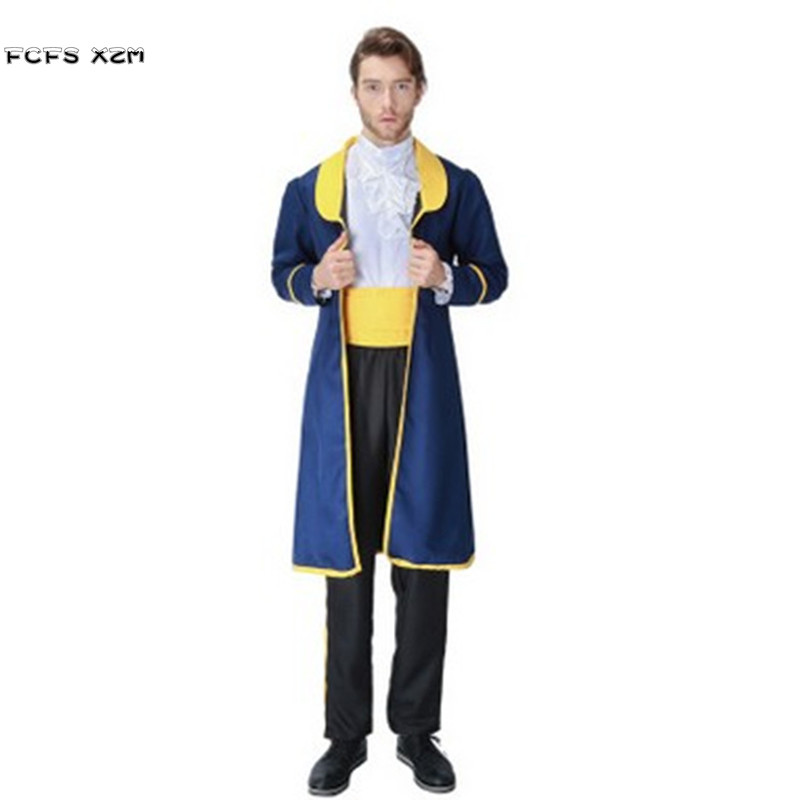 Deluex Beauty and the beast Halloween Costumes For Men Cinderella Prince Charming Cosplays Carnival Purim Christmas party dress