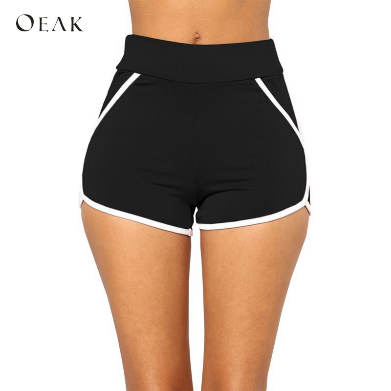 OEAK 2018 Women Casual   Shorts   Summer Striped Slim Fit Workout   Shorts   Female Elastic Skinny Beach Egde   Shorts   Girls Hot Simple