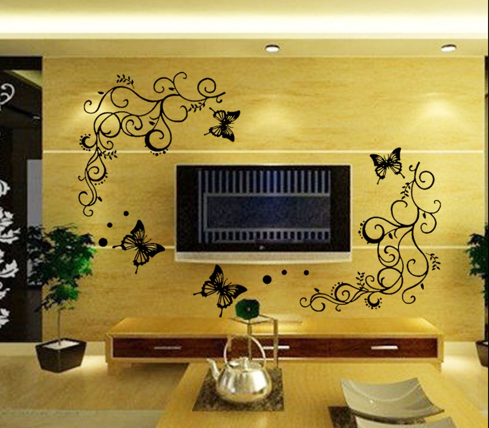 3D lowest price calssic black butterfly flower Wall sticker home ...