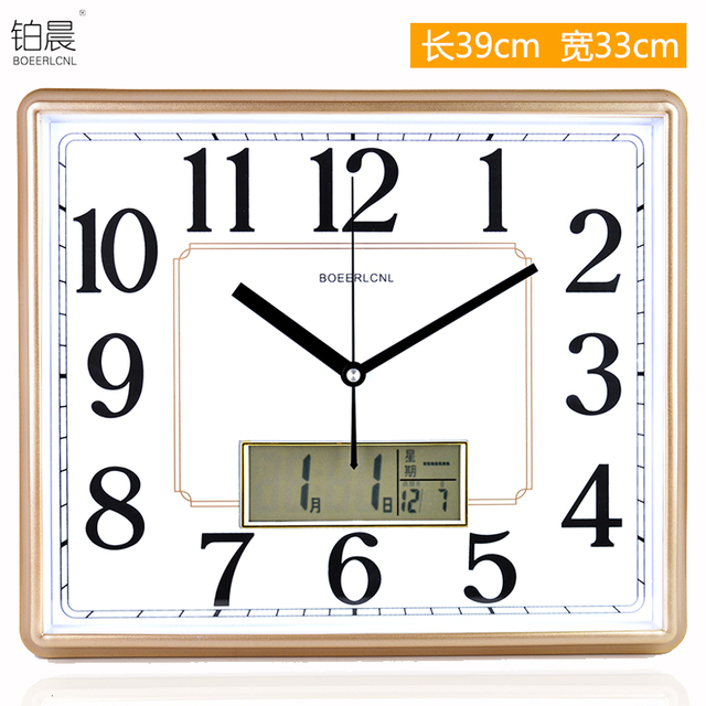 Crafts Arts Home Decoration Living Room Wall Clock Watch Fashion Watch  Calendar Large Rectangular Creative Quartz