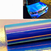 1,38 м x 3 м синий автомобиль Обёрточная бумага голографические радужная пленка Neo Chrome винил Стикеры