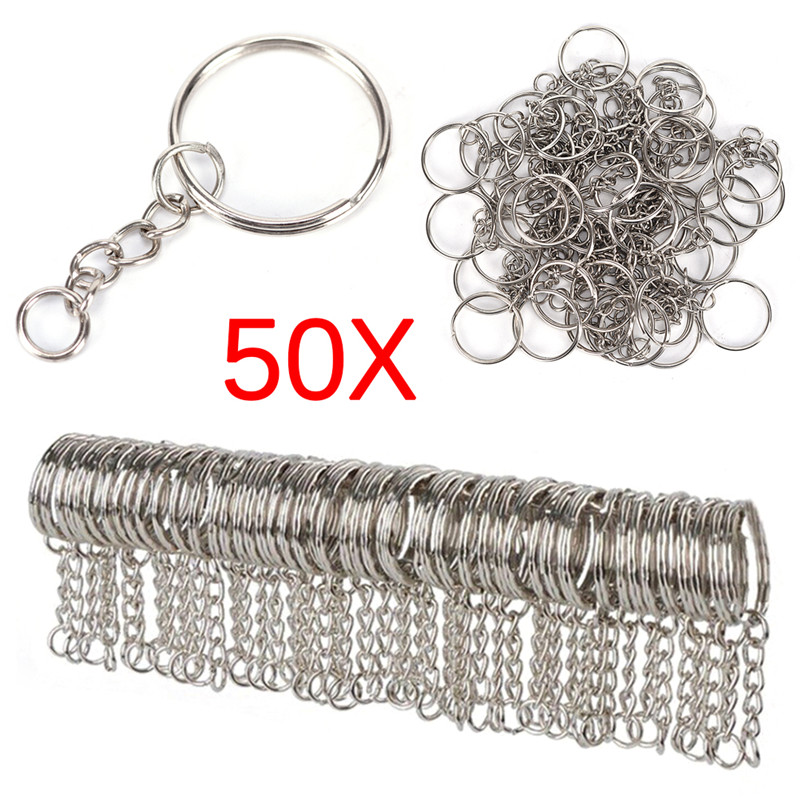 50pcs Polished Silver Color 25mm Keyring Keychain Split Ring with Short Chain Key Rings Women Men DIY Key Chains Accessories