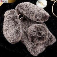 Đối với Huawei Honor 6A Trường Hợp Dễ Thương 3D Rabbit Plush Cover Girl Lông Fur Fluffy Phone Case Cho Huawei Honor 6A pro Coque honor 6A Capa