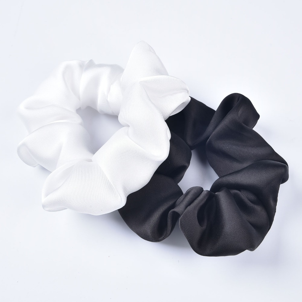 Black And White Silk Like Scrunchie Hairbands Hair Tie Hair Accessories Satin Scrunchie  Stretch Ponytail Holders Handmade Gifts