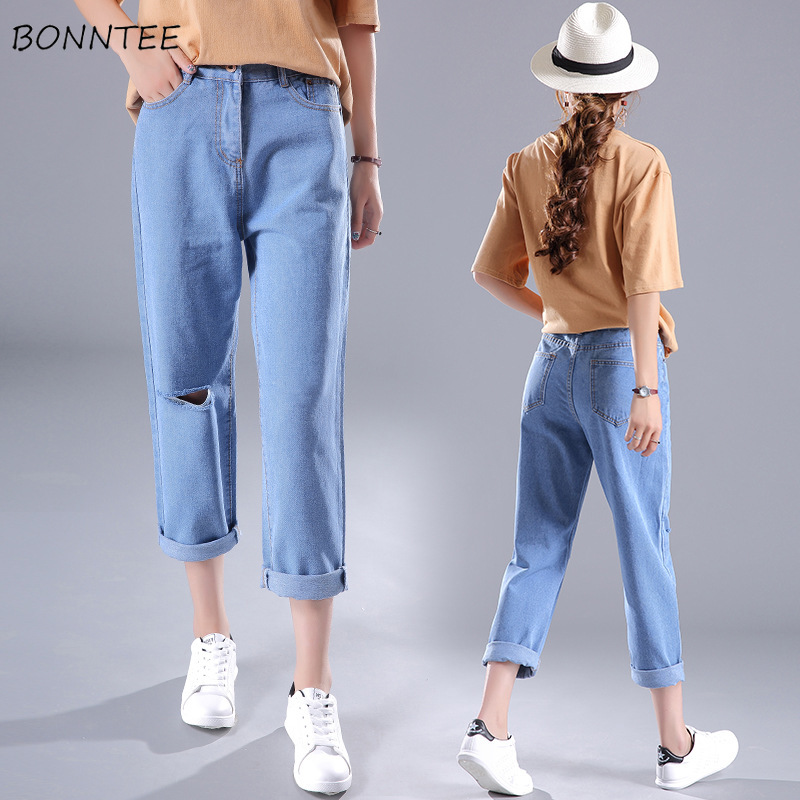 Jeans Women Korean Style Spring Summer Trendy Simple All-match Ulzzang High Waist Ankle-Length Hole Streetwear Womens Trousers