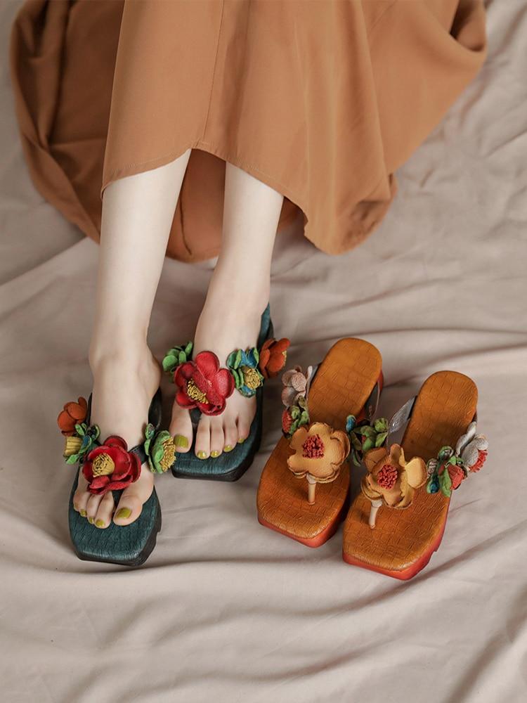 Tayunxing handmade shoes woman Genuine leather Flowers flat flops women slipper flip  comfort flower casual lady shoes  1808-93