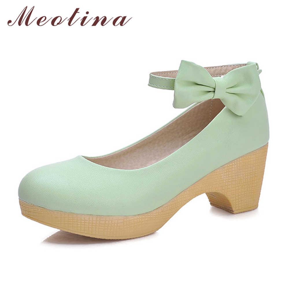 Meotina Shoes Women Bow Ankle Strap Ladies Pumps Platform High Heels 2018  Autumn Round Toe Square 9cbd4e18c997