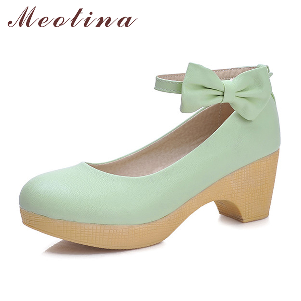 Meotina Shoes Women Bow Ankle Strap Ladies Pumps Platform High Heels 2018 Autumn Round Toe Square Heel Footwear Pink Green Blue