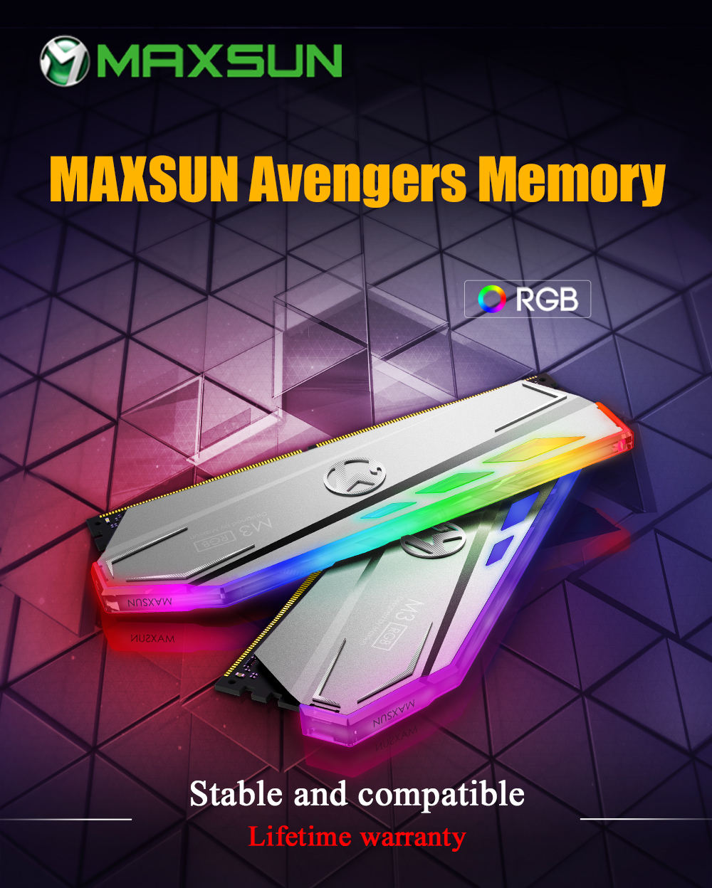 MAXSUN RAM DDR4 8GB/16GB Desktop Memory 2400MHz memory voltage 1.2V 17-17-17-39 Lifetime Warranty 288pin Flash Light Single RAMs 14