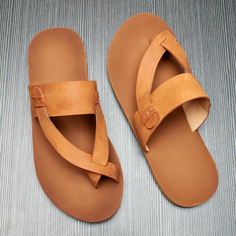 flip flops simple toe men 39 s head leather Beach slippers men outside to wear a word drag anti skid fender genuine leather in Flip Flops from Shoes