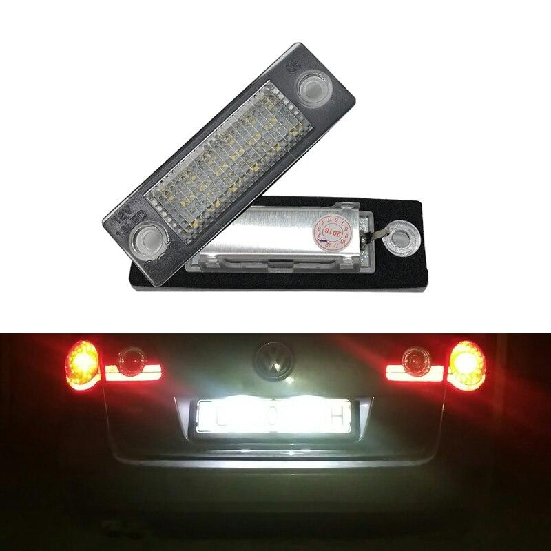 2 unids 18SMD Led trasera número luz de placa de licencia lámpara para VW Jetta Touran/Passat B6 5D para Skoda soberbio 1 3U B5 coche-estilo