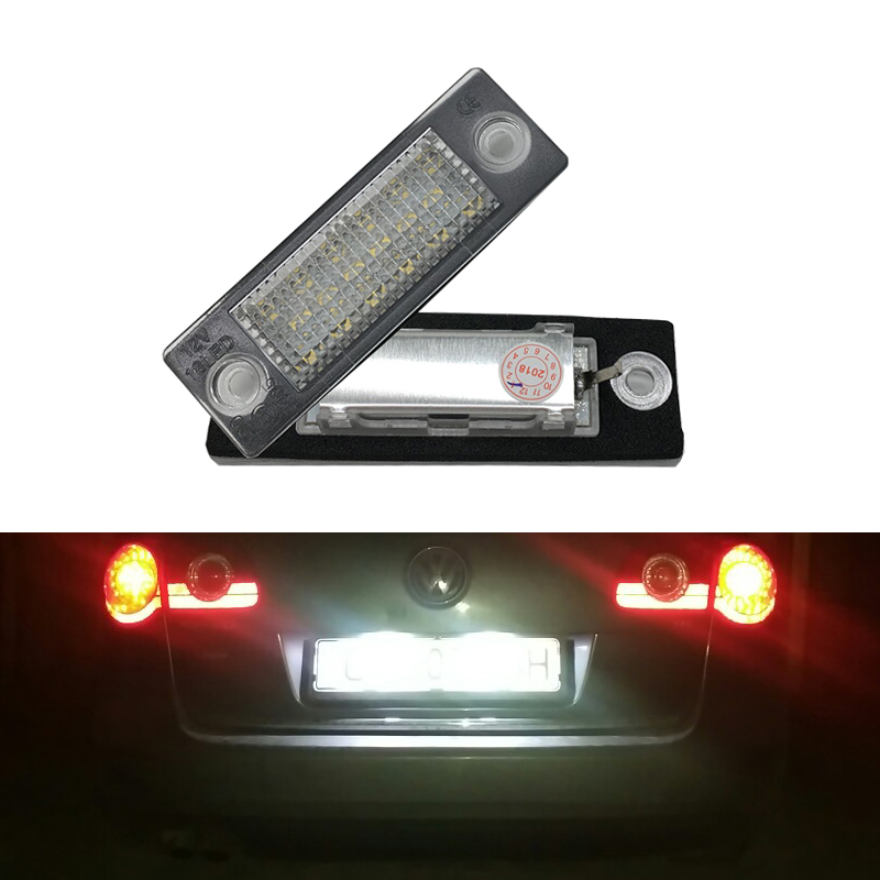 2PCs 18SMD Led Rear Number License Plate Light Lamp For VW Jetta Touran/ Passat B6 5D For Skoda Superb 1 3U B5 Car-Styling 2x error free led license plate light for volkswagen vw passat 5d passat r36 08