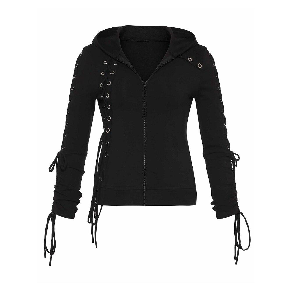 Sisjuly Gothique à lacets Sweatshirt à capuche Poche Cordon À Fermeture Éclair Sweats Capuches Femmes Automne Hiver Sweat-Shirt À Capuche