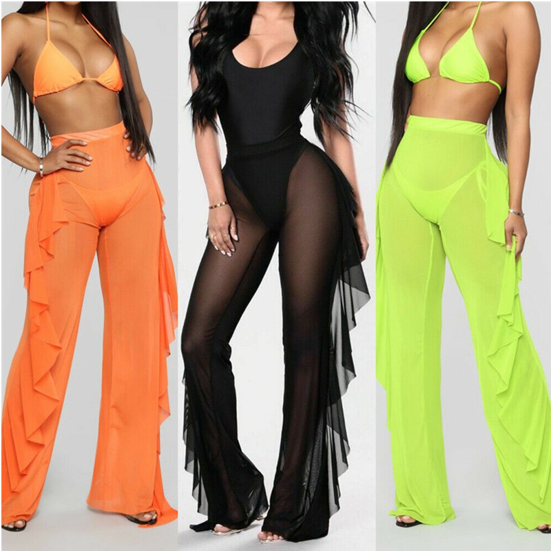 Sexy Ruffle Women Beach Mesh Pants Sheer Wide Leg Pants Transparent See Through Sea Holiday Cover Up Bikini Trouser Pantalon F3