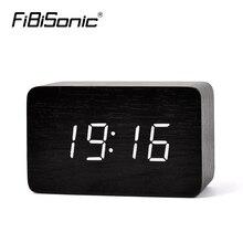 FiBiSonic Bamboo green New Thermometer LED Digital Clock,Sounds Control Wooden Alarm Clocks,Desktop Clock Drop Shipping