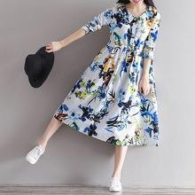 2017 New Retro Female Long-sleeved Cotton Linen Dress Floral Print Women National Loose Dress Chinese Ladies Dress