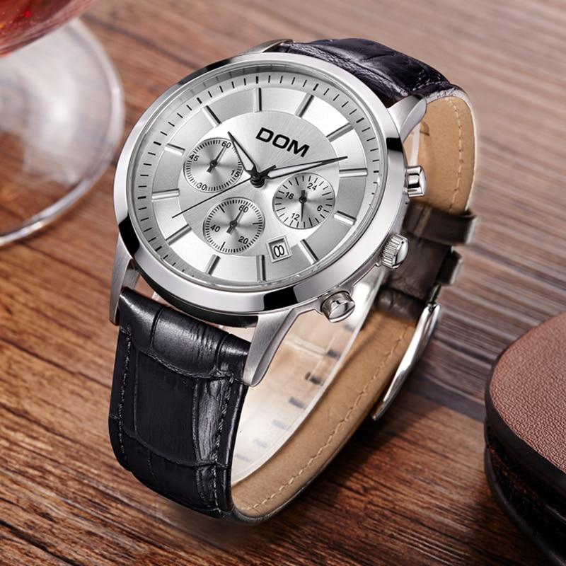 Men's Sports Leather Watch Large Dial Multifunctional Quartz Wirstwatches 2018 Male Watch Clock Man Gift Waterproof Reloj Hombre by malene birger комбинезоны без бретелей