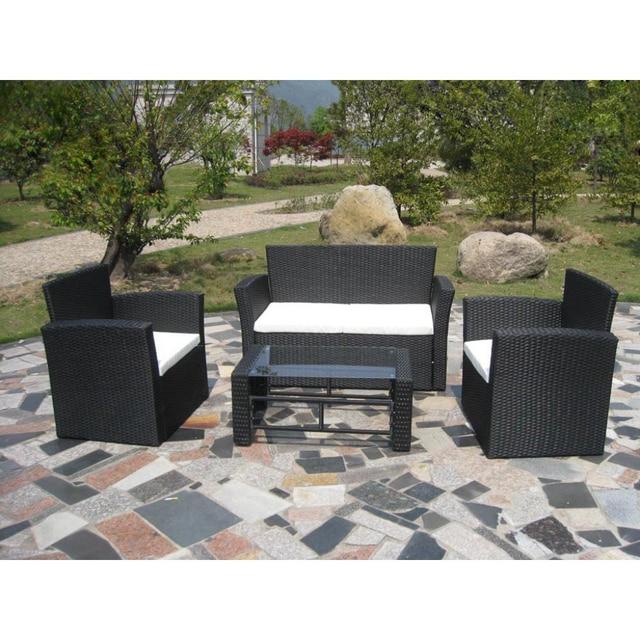 Ikayaa jardín conjunto de negro poli muebles de jardín es Stock en ...