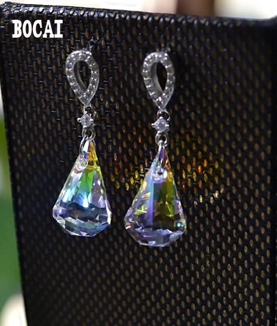 цена на 925 sterling silver jewelry water droplets zircon inlaid earrings high quality fashion earrings