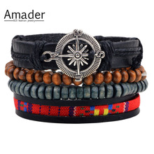Vintage Leather Bracelet 2017 Charm Beads Jewelry Wristband boho Statement Bracelet for Women Men Bijoux wholesale