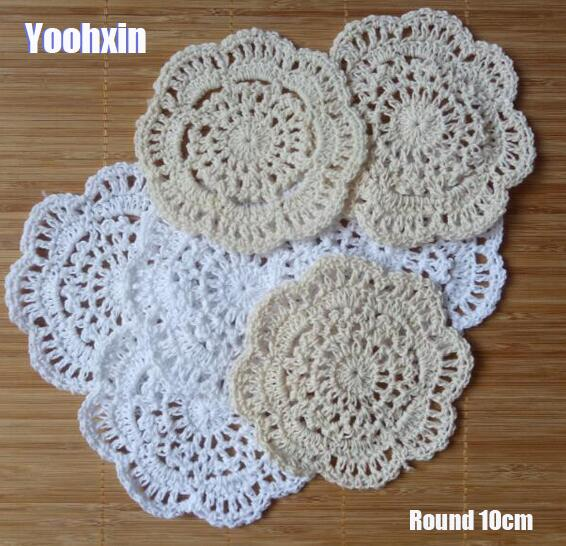 Luxury Flower Handmade Lace Round Cotton Dish Table Place Mat Pad Cloth Crochet Placemat Cup Mug Party Tea Coaster Doily Kitchen Table Decoration & Accessories