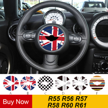 Union Jack Steering Wheel Center Decoration Car Styling Sticker Decal For MINI COOPER JCW S Countryman R55 R56 R57 R58 R60 R61